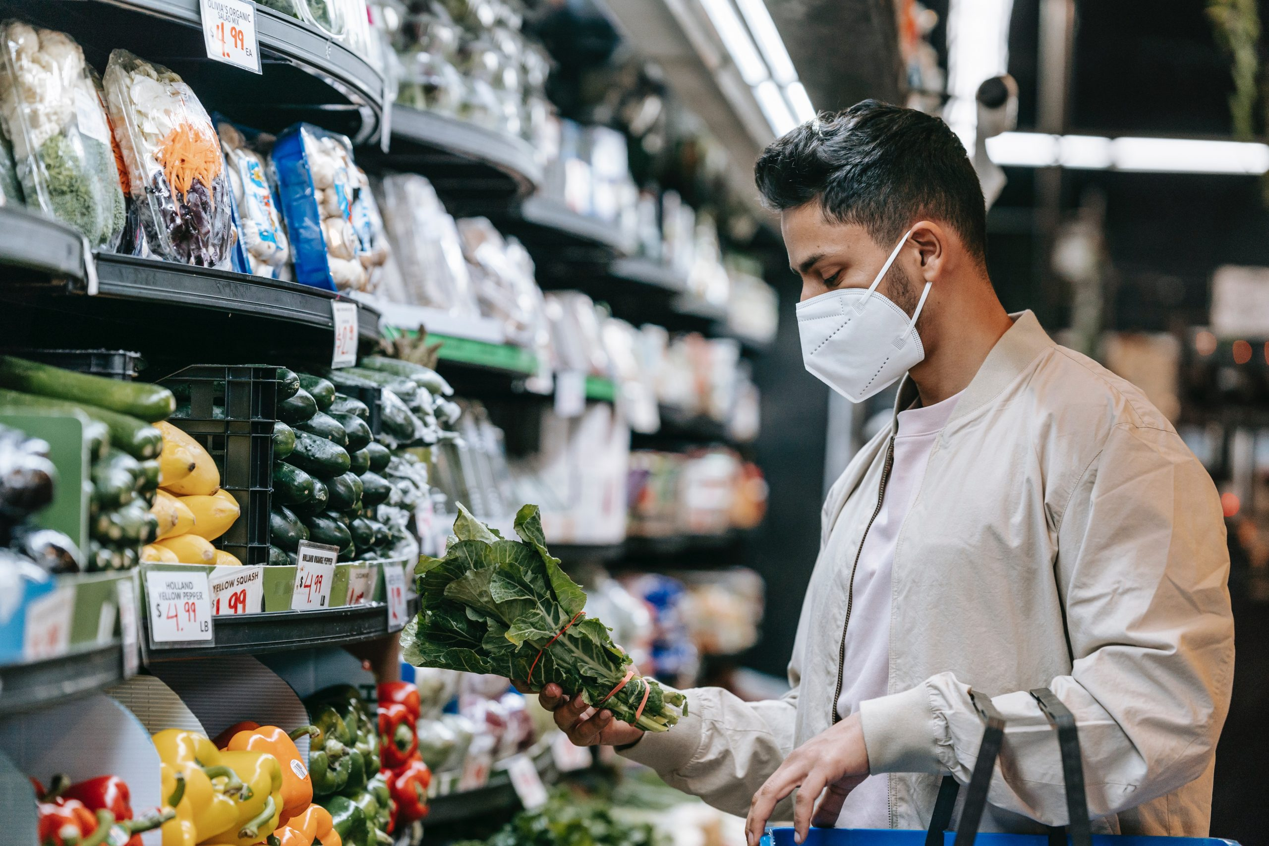 A man buying healthy food for diet to combat adhd.
