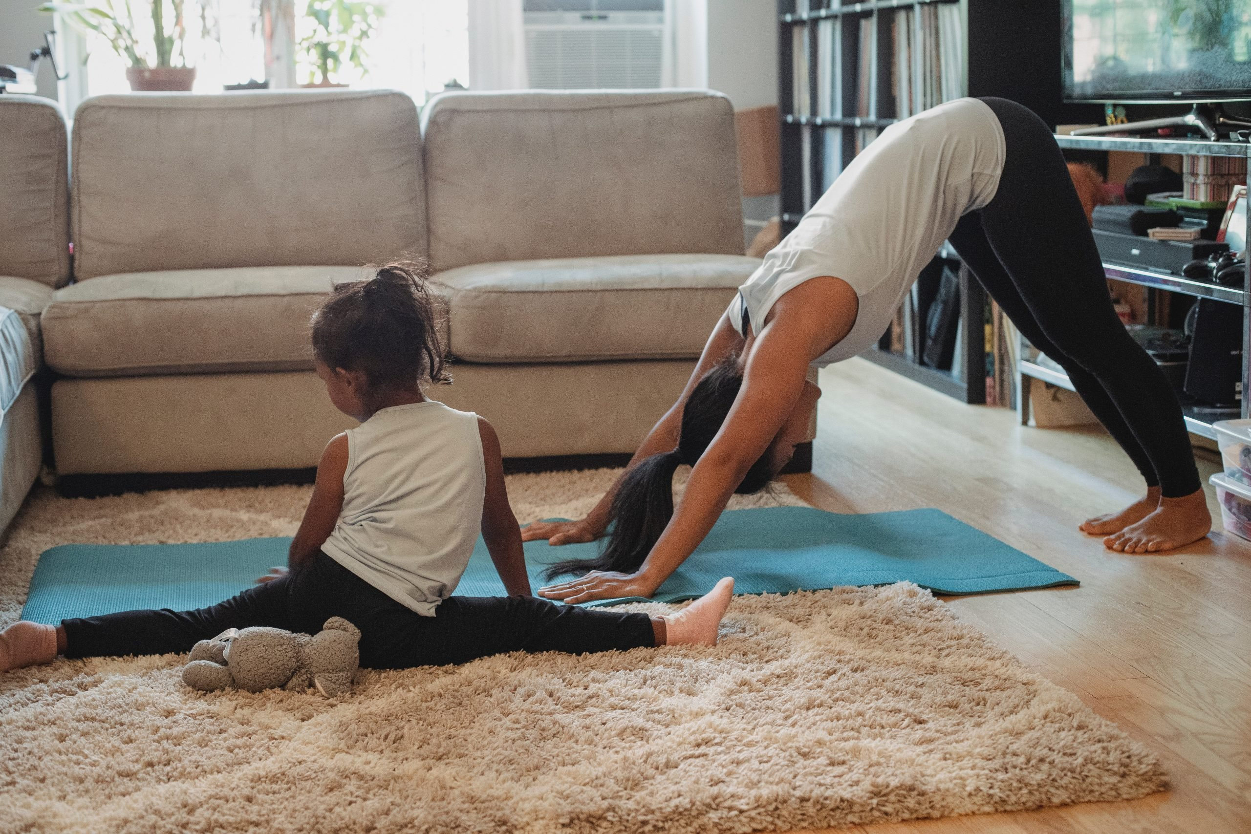 A mother and child exercising as one of the natural remedies for adhd.