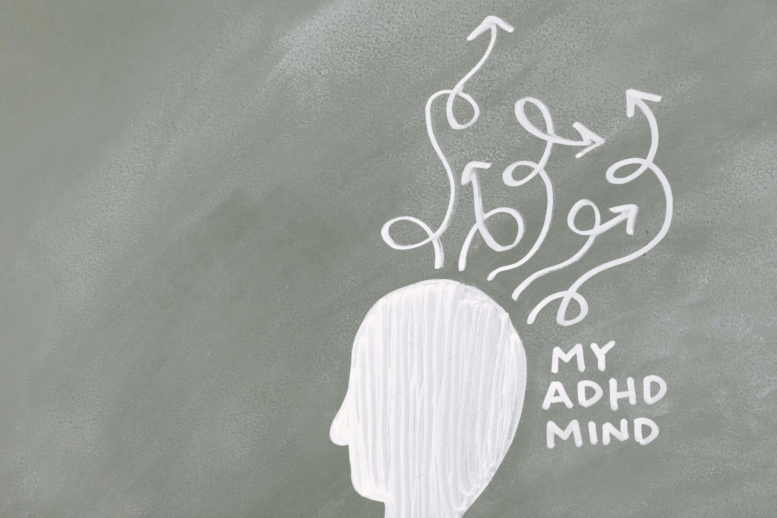Chalkboard illustration for an adhd mind.